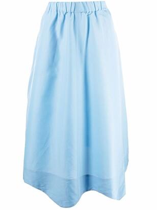 Ganni Poplin Flared Midi Skirt