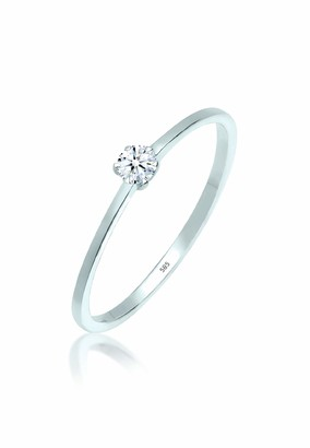 Elli PREMIUM Women Genuine Jewellery Ring Solitaire Ring Engagement Ring Classic Elegant Glamorous 585 White Gold Diamond 0 1 Carat White Ring Sizes M N P Q