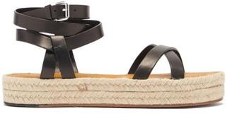 Isabel Marant Melyz Flatform Leather Espadrille Sandals - Black