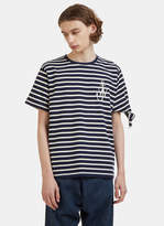 J.w. Anderson Breton Striped Logo Knot T-shirt In Navy And White