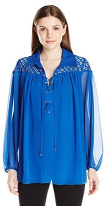 Adrianna Papell Women's Pleated Blouse W/Lace