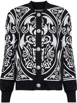 Balmain Appliqued Embroidered Cotton-jersey Jacket
