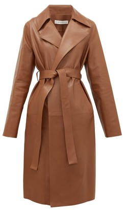 Inès & Marèchal Gustave Leather Trench Coat - Womens - Mid Brown