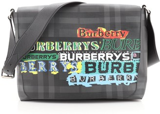 Burberry Graffiti Flap Messenger Bag Smoked Check Coated Canvas Large
