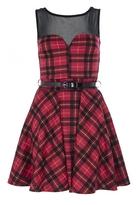 Red Tartan Mesh Skater Dress