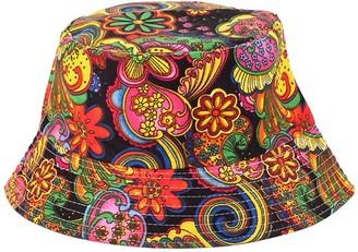 Wimagic 1x Colorful Print Bucket Hat Sun Hat Cotton Foldable Wide Brim Sun Protection Travel Outdoor Beach Cap for Women Girls