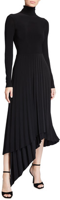 Halston Liv Pleated Jersey Midi Dress