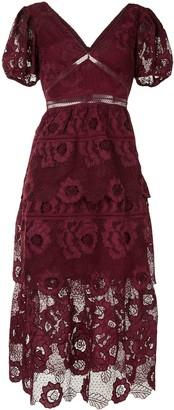 Self-Portrait Tiered Floral Lace Midi Dress