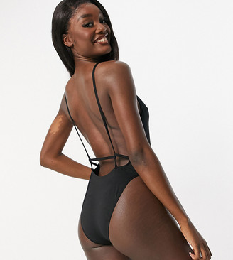 Asos Tall ASOS DESIGN tall recycled twist strappy low back swimsuit in black