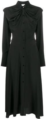 Patou Ruched Silk Shirt Dress