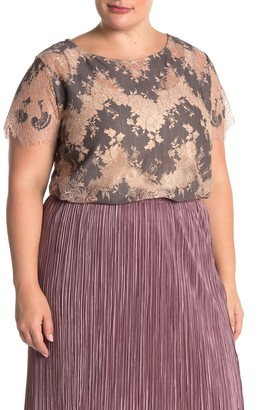 Everleigh Short Sleeve Scalloped Lace Blouse (Plus Size)