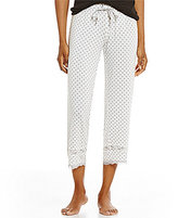 PJ Salvage Dotted Jersey & Lace Capri Sleep Pants