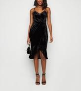 New Look Velvet Ruffle Hem Wrap Midi Dress