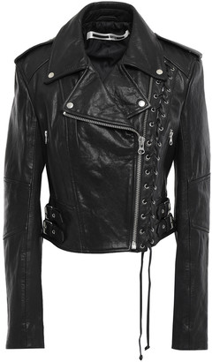 McQ Cropped Lace-up Textured-leather Biker Jacket