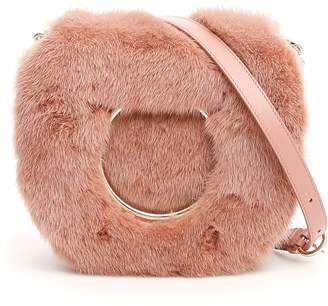 Salvatore Ferragamo Bag With Mink Fur And Maxi Gancio