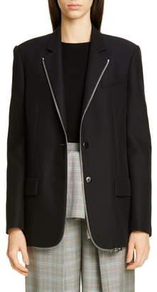 Alexander Wang Zipper Trim Oversized Wool Blend Blazer