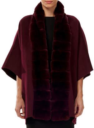Gorski Wool-Blend Cape w/ Fur Trim