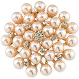 Carolee Gold-Tone Imitation Pearl and Crystal Cluster Pin