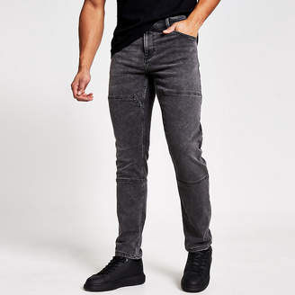 ONLY & SONS grey stitched slim fit jeans