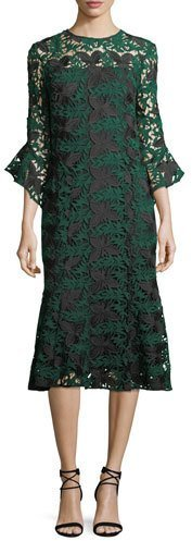 Shoshanna Peregrine Bell-Sleeve Floral Lace Midi Cocktail Dress