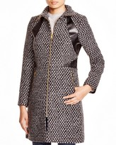 Via Spiga Popcorn-Stitch Coat with Faux Leather Trim