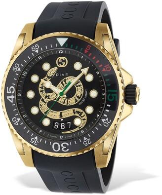 Gucci 45mm Dive Xl Watch W/ Snake Motif