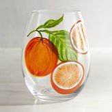 Pier 1 Imports Citrus Blood Orange Painted Stemless Wine Glass