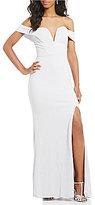 Jodi Kristopher Off-The-Shoulder Glitter Knit Long Dress