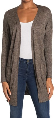 Poof Marled Open Front Pocket Long Cardigan