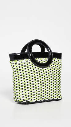 Solid & Striped Woven Circle Tote Bag