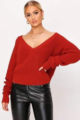 I SAW IT FIRST Rust V-Neck Wrap Crop Jumper