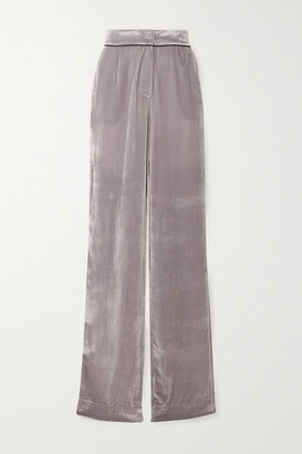 SLEEPING WITH JACQUES Piped Velvet Pajama Pants - Taupe