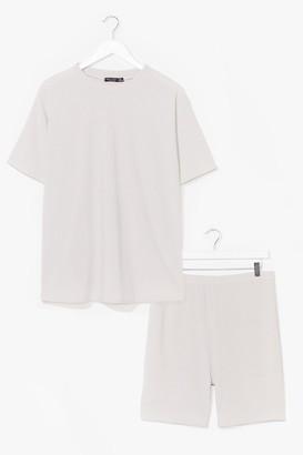 Nasty Gal Womens Straight Chillin' Plus Tee and Biker Shorts Set - Grey