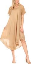 Sakkas Women's Casual Dresses Sand - Sand Embroidered Curved-Hem Midi Dress - Women