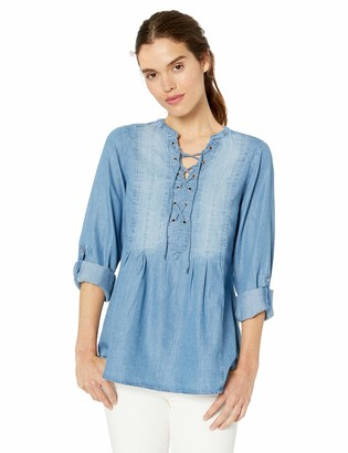 Vintage America Blues Women's Eva Lace up Front Roll Sleeve Woven Blouse Top Radiant Heart XSmall