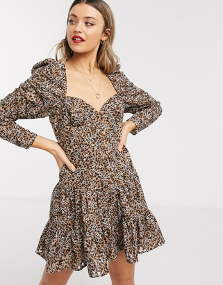 Asos DESIGN sweetheart neck broderie mini dress in leopard print