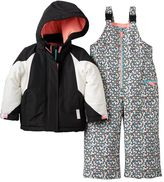 Carter's Toddler Girl Heavyweight Colorblock Jacket & Printed Bib Snow Pants Snowsuit Set