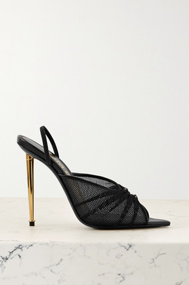 Tom Ford Leather-trimmed Mesh Slingback Sandals - Black