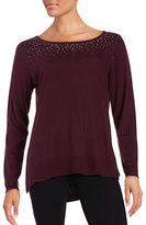 NYDJ Rhinestone Embellished Cashmere-Blend Sweater