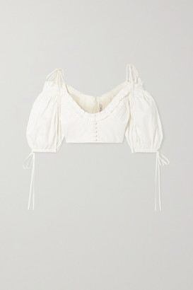 Orseund Iris Lady Cropped Cold-shoulder Cotton-poplin Top - Ivory