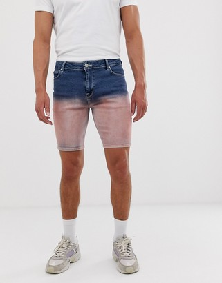 Asos Design DESIGN denim shorts in mid blue with pink ombre
