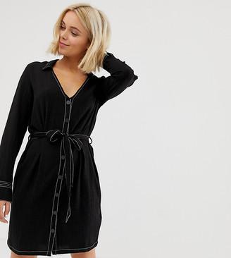 Pimkie contrast stitch dress in black