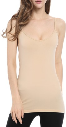 Genuwin Womens Polyamide Camisole Tops (2 Pack) Ladies Wear Two Ways Tank Top - V-Neck or Crew Neck Basic Cami Vest Sleeveless Shirt -Vest- Undershirt (S/M