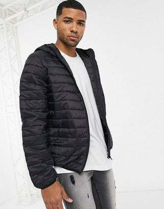 ASOS DESIGN lightweight puffer jacket with hood in black