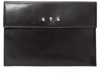 Alexander McQueen Skull Envelope Leather Clutch Bag - Black
