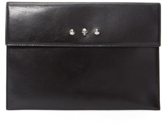 Alexander McQueen Skull Envelope Leather Clutch Bag - Womens - Black