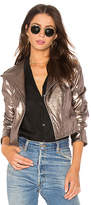 1 STATE Cropped Jacket in Metallic Silver. - size L (also in M,S,XS)