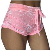 Pink Wind PinkWind Women Bodycon Stretch Tie Waist Velvet Flannel Butt Lift Running Shorts M