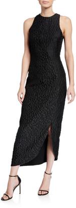 Brandon Maxwell Sleeveless Fitted Leopard-Jacquard Dress