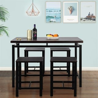Direct Wicker Dining Table with 4 Chairs,5 Piece Dining Set with Counter and Pub Height
